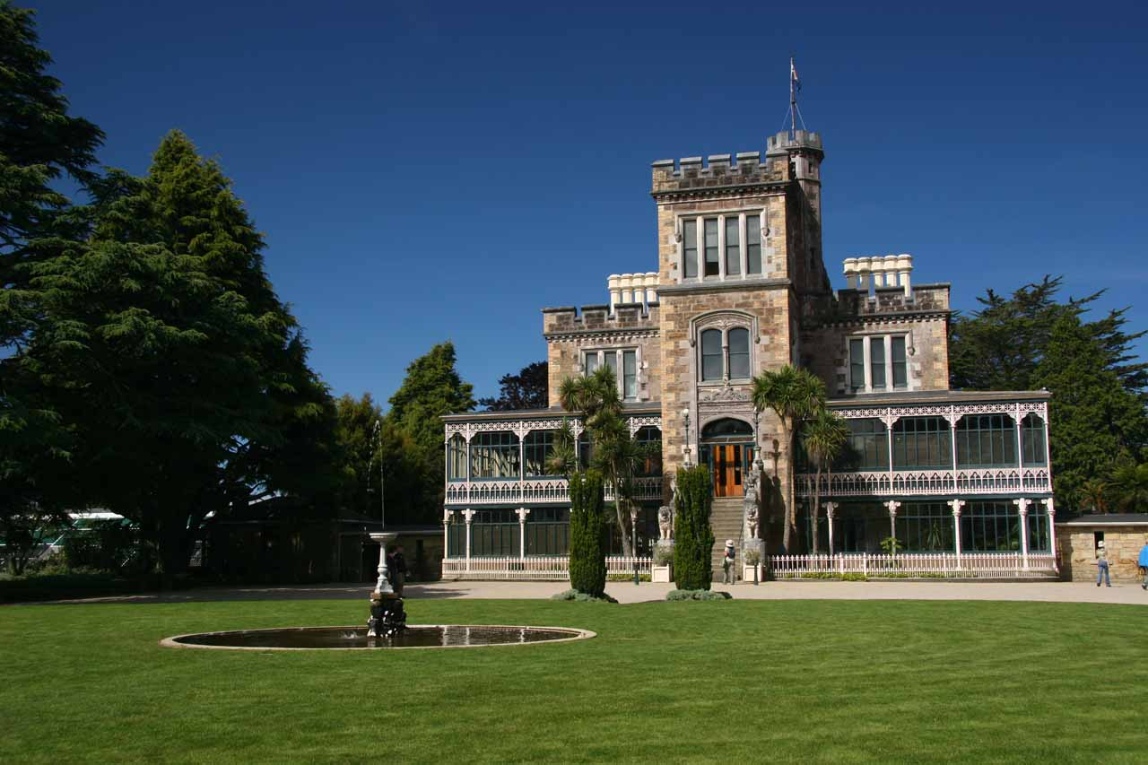 On the outskirts of Dunedin (about 115km northeast of Barrs Falls) was the Larnach Castle, which was an interesting visit for views and some Hearst Castle-like artifacts