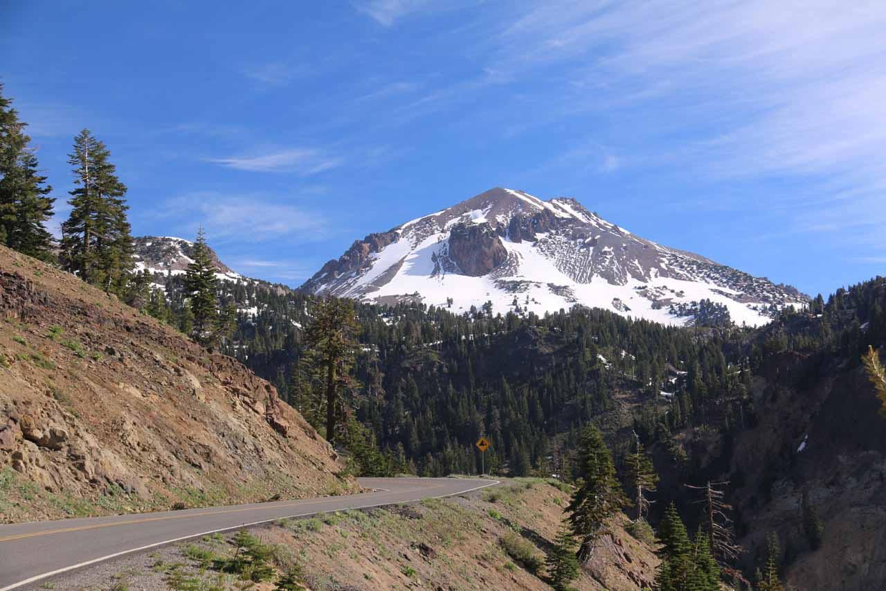 Over two hours drive north along Hwy 89 from Graeagle was Lassen Volcanic National Park, which featured impressive volcanic scenery including this view of Lassen Peak from a pullout on the main road