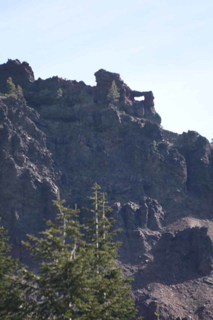 Lassen_031_06212016 - Near the Koh Yah-mah-nee Visitor Center, we noticed this interesting natural arch high up on the craggy cliffs in the distance