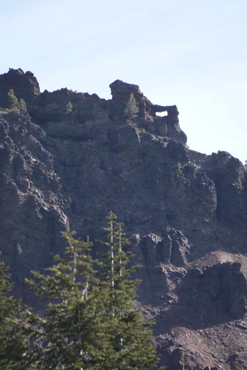 Near the Koh Yah-mah-nee Visitor Center, we noticed this interesting natural arch high up on the craggy cliffs in the distance