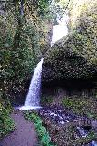 Latourell_Falls_100_04062021 - Context of the Upper Latourell Falls with footbridge below it