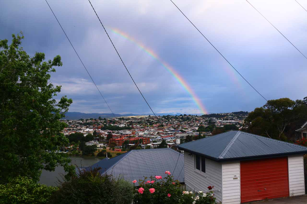 It seemed like rain was a constant each day we were in Launceston during our 2017 trip.  But such weather produced high arching rainbows like this one