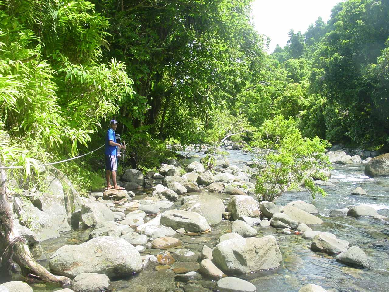 Following our guide as we walked alongside Wainibau Stream