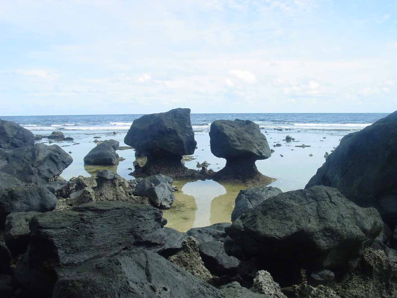 Further south along Taveuni's east coast from the Bouma National Park was the Lavena Coastal Walk, which allowed us to get close to these eccentric mushroom rock formations as well coastal scenery