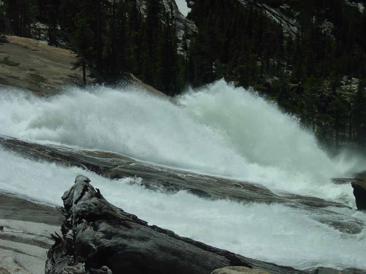 Closeup look at a pair of waterwheels on LeConte Falls