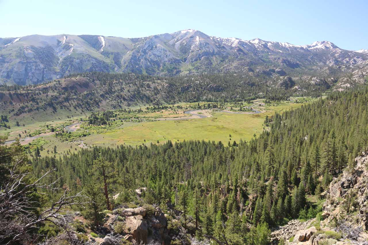 Looking across the entirety of Leavitt Meadow in the morning from the vista point