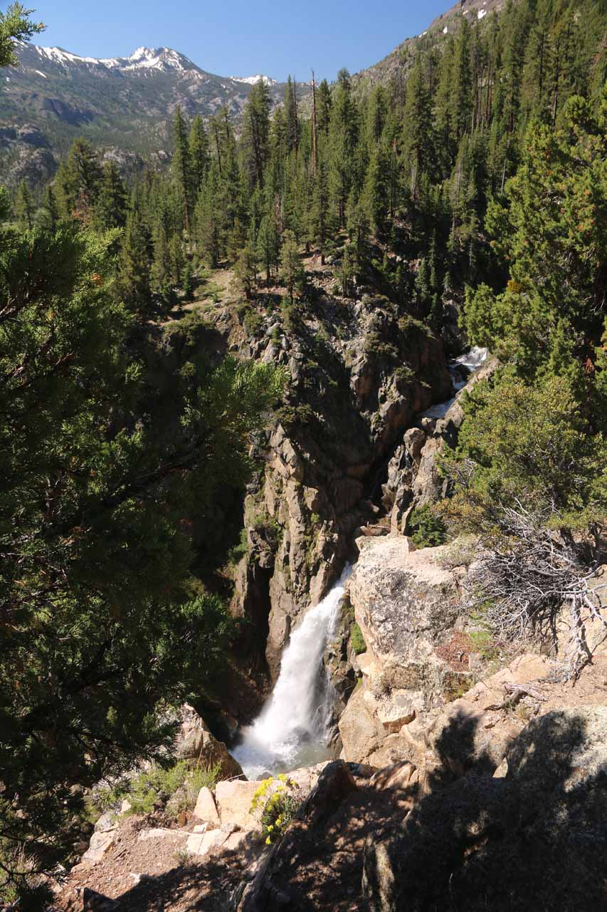 That trail-of-use led to this suboptimal (and precarious) view of the main drop of Leavitt Falls