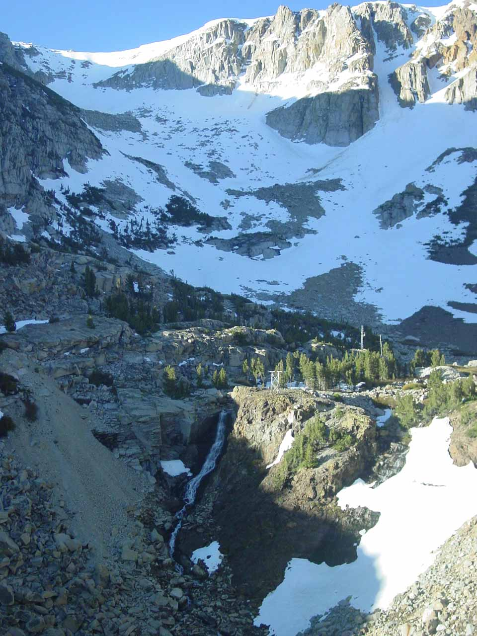 A cascade draining Ellery Lake near the Tioga Pass