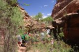 Left_Hand_041_04202017 - Lots of people gathered at the plunge pool of Mill Creek Falls in Moab