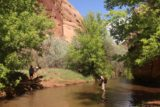 Left_Hand_115_04202017 - Looking back at some folks making a deep creek crossing in Mill Creek Canyon in Moab