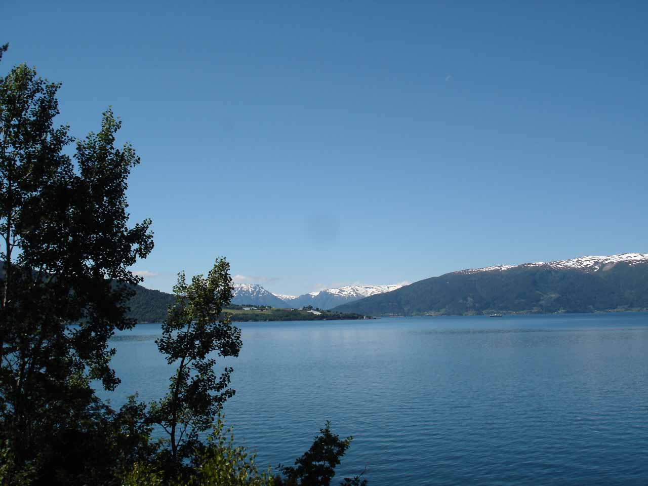 Looking out towards the wide open body of water of Sognefjorden