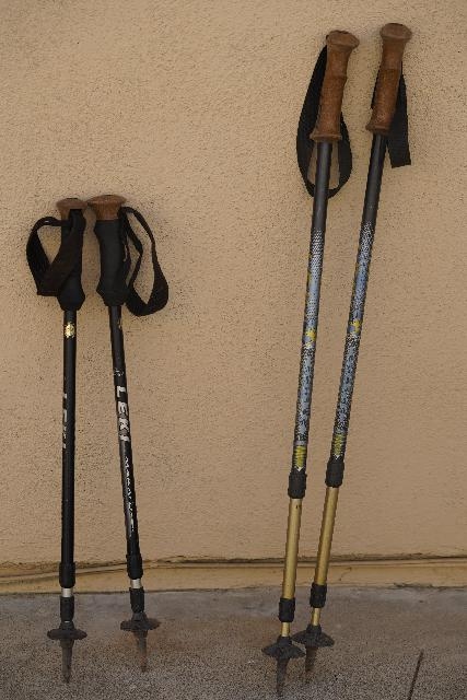 A couple of the trekking poles that we've owned and continued to use over the years. Both are shown in their collapsed forms