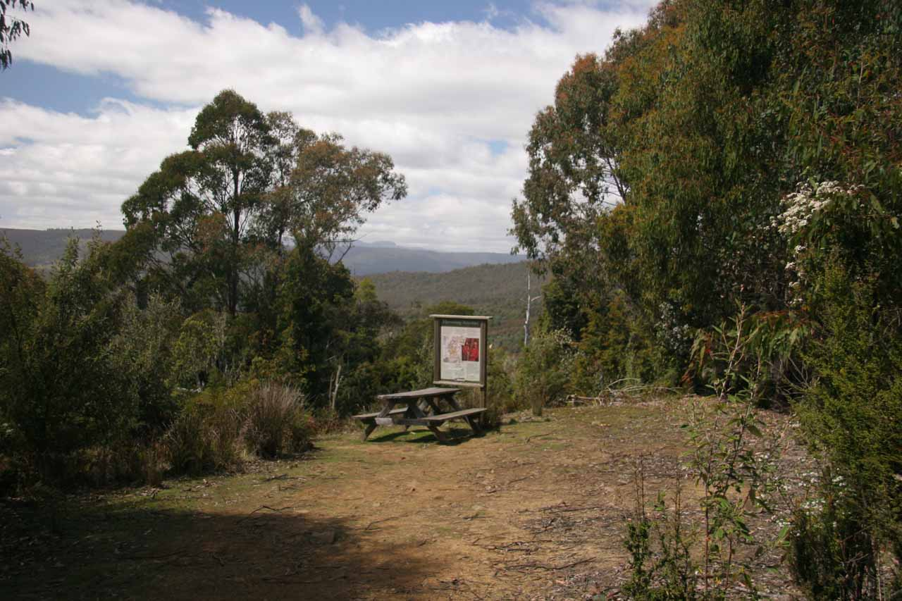 The picnic table and lookout near the top of the initial ascent