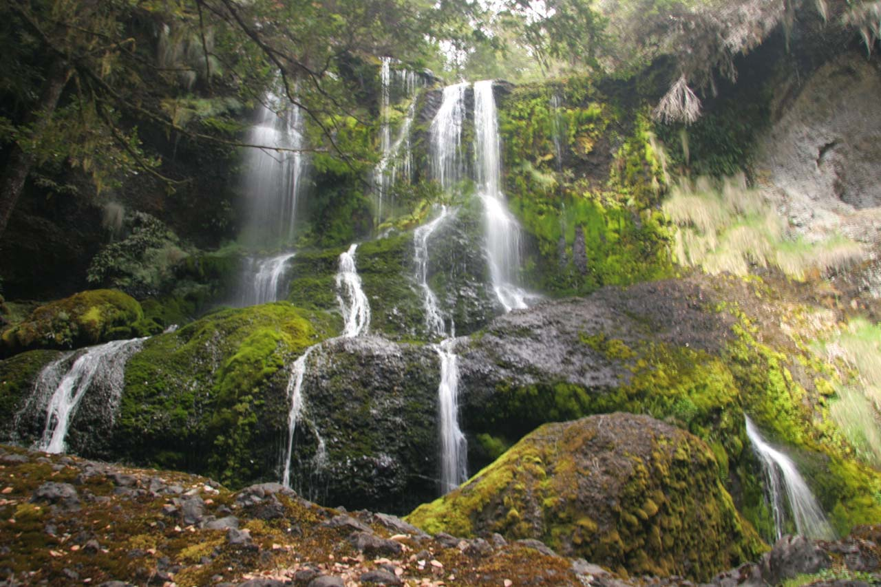 A more front-and-center look at Champagne Falls after a short scramble past some of the initial mossy boulders back in late November 2006
