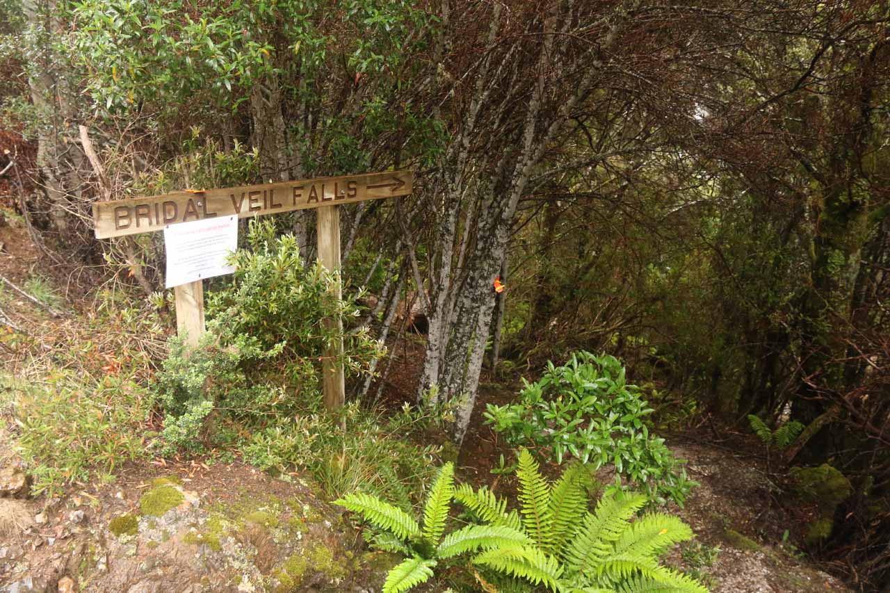 The signpost at the 4wd road for Bridal Veil Falls
