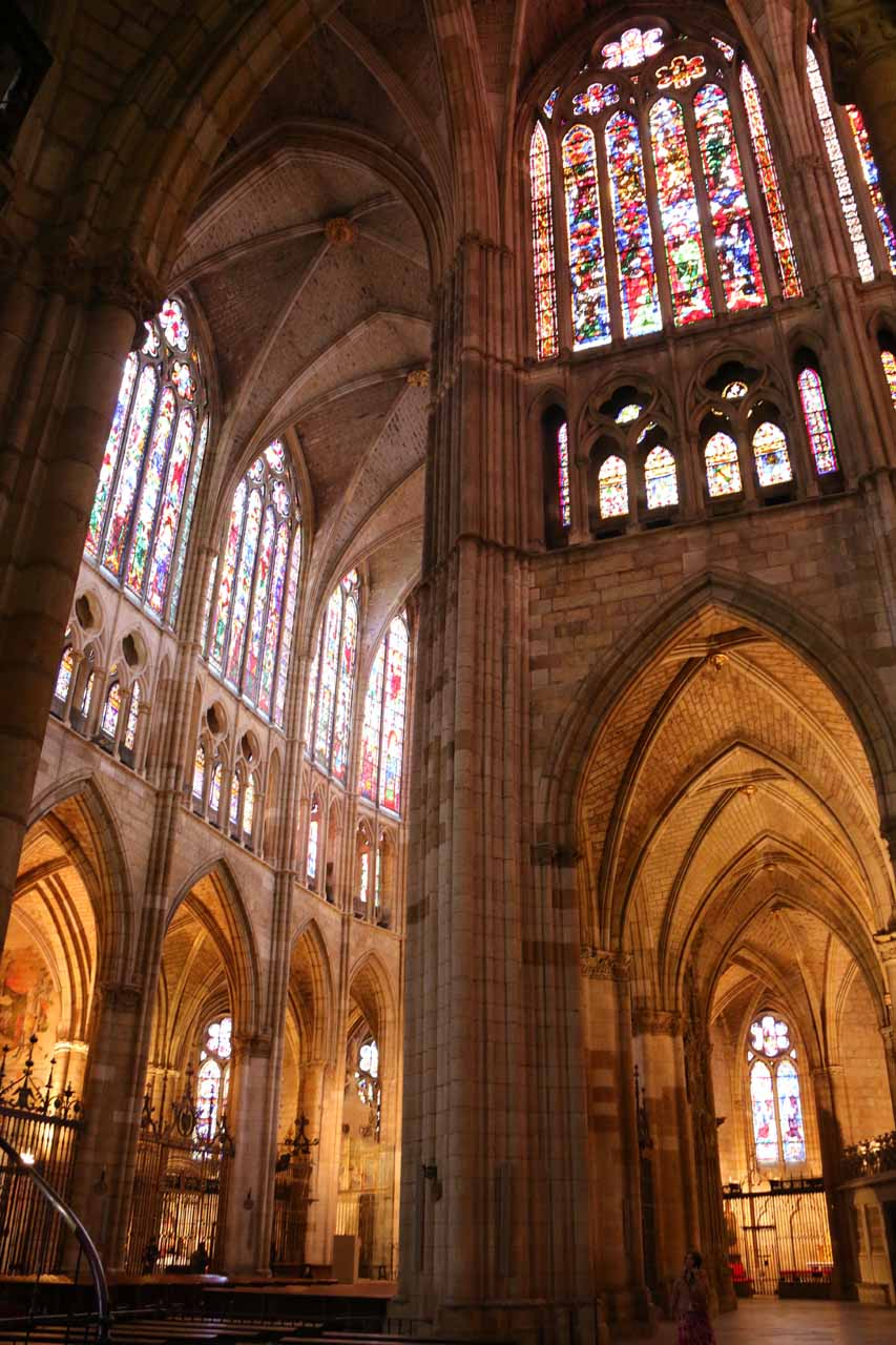Looking up at the stained-glass windows of the Catedral de Santa Maria in Leon