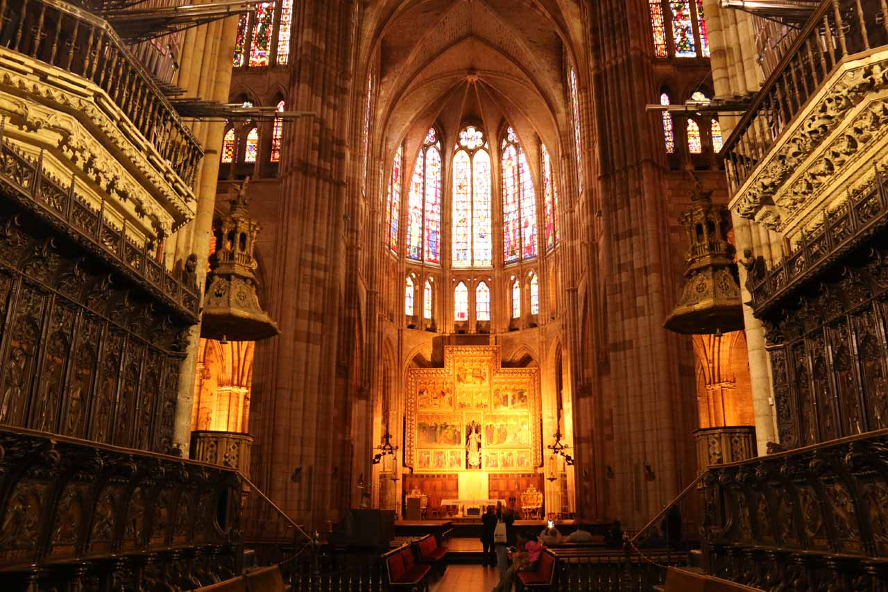 Looking right at the main altar of the Catedral de Santa Maria in Leon from the choir area