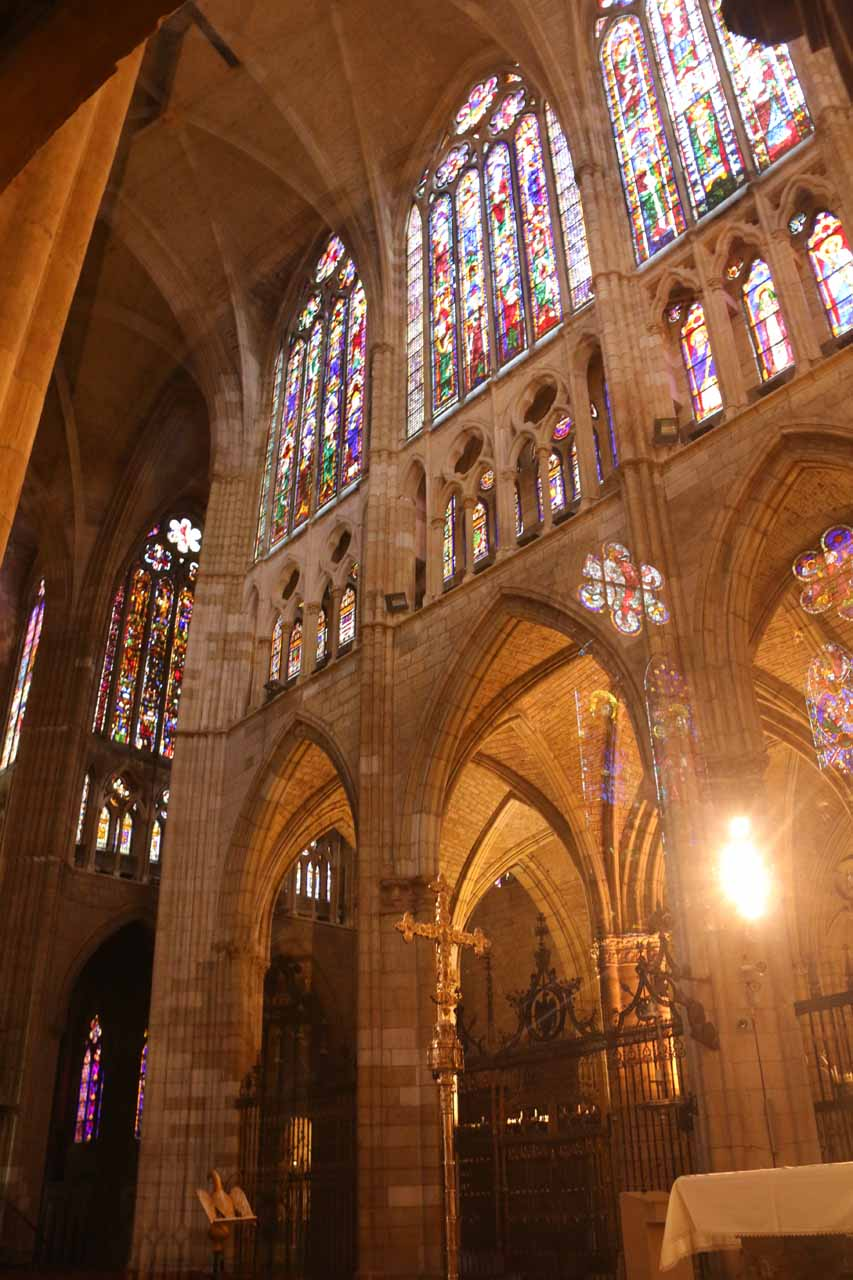 Looking across the Catedral de Santa Maria in Leon up towards more stained-glass windows