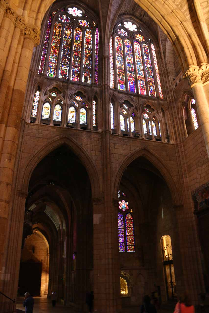 Looking up at some stained-glass windows somewhere near the entrance to the Catedral de Santa Maria in Leon