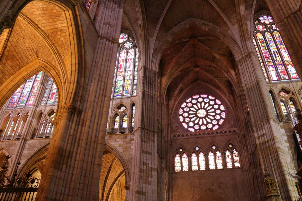 Another look up at the stained glass windows of the Cathedral in Leon