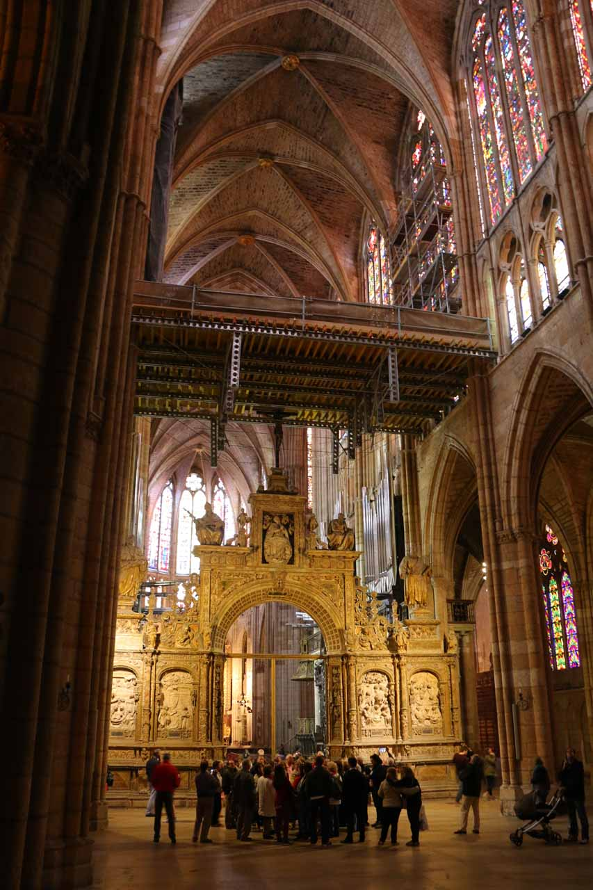 Looking back towards the entrance of the Catedral de Santa Maria in Leon with a tour group below