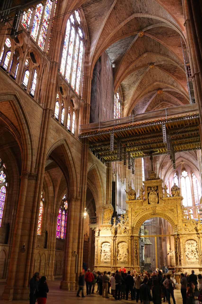 Looking up at the stained glass windows above the main entrance area of the Catedral de Santa Maria in Leon