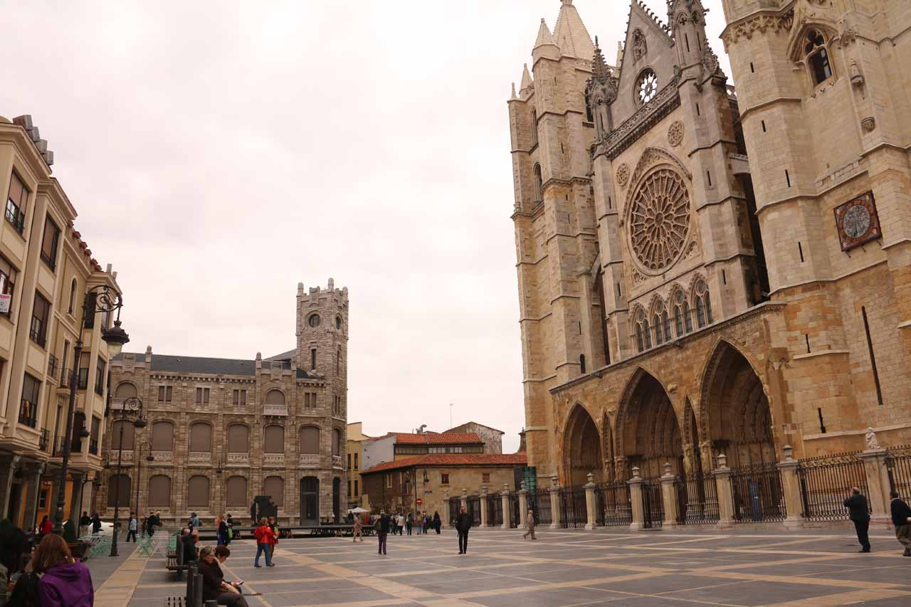 Looking back at the impressive cathedral in Leon