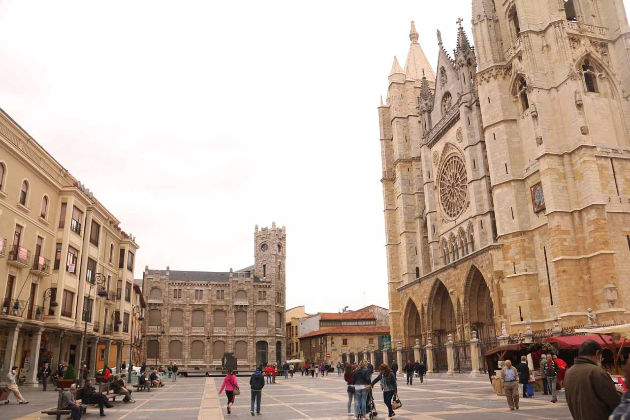More angled look back at the Cathedral in Leon