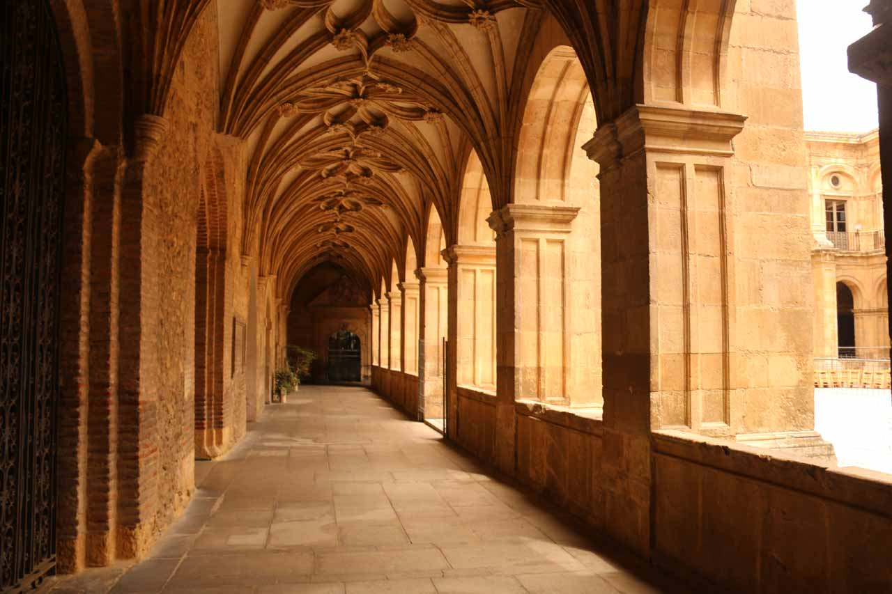 In a courtyard just outside the frescoed room with tombs at the Basilica de San Isidro in Leon
