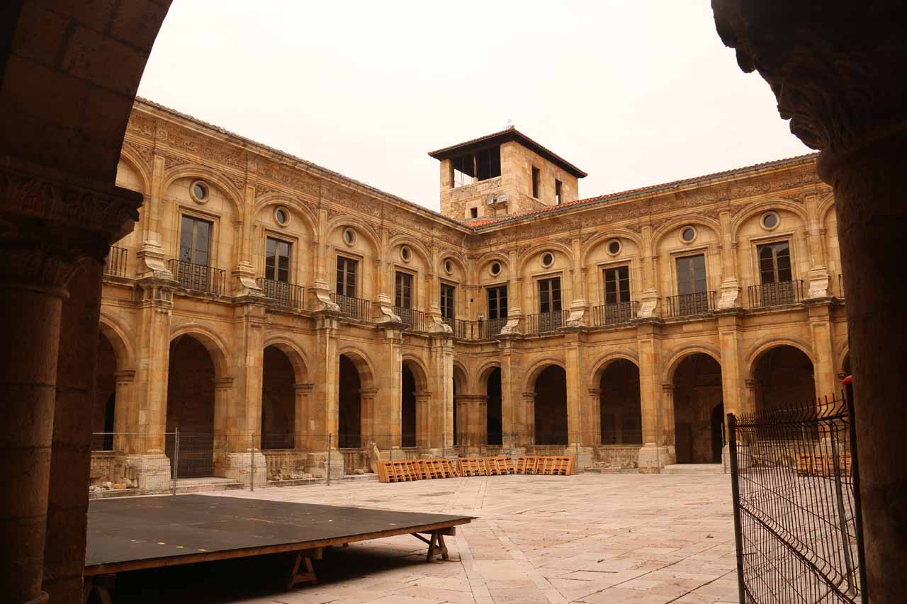 Looking across the courtyard in the Basilica de San Isidro in Leon