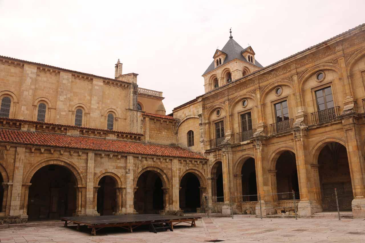 Looking across the courtyard in the Basilica de San Isidro in Leon