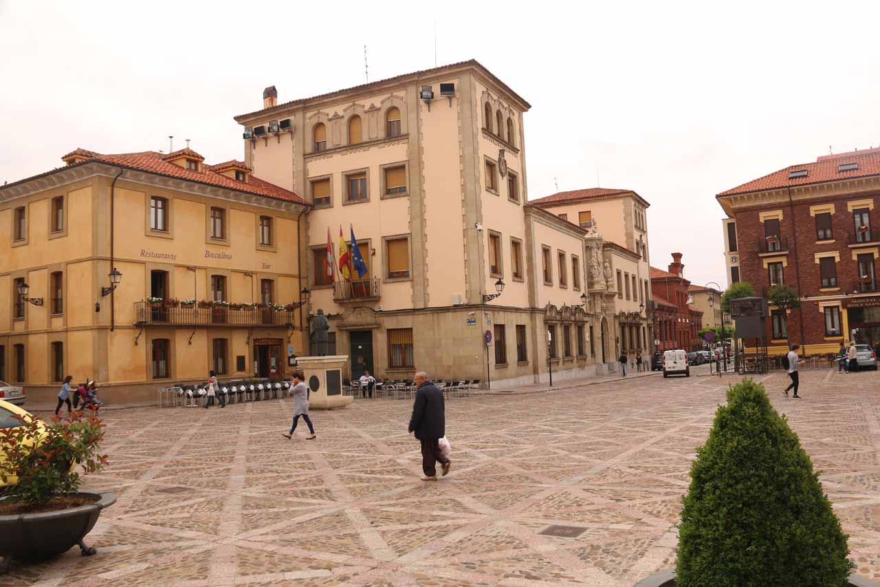 Looking back across the plaza fronting the Basilica de San Isidro in Leon