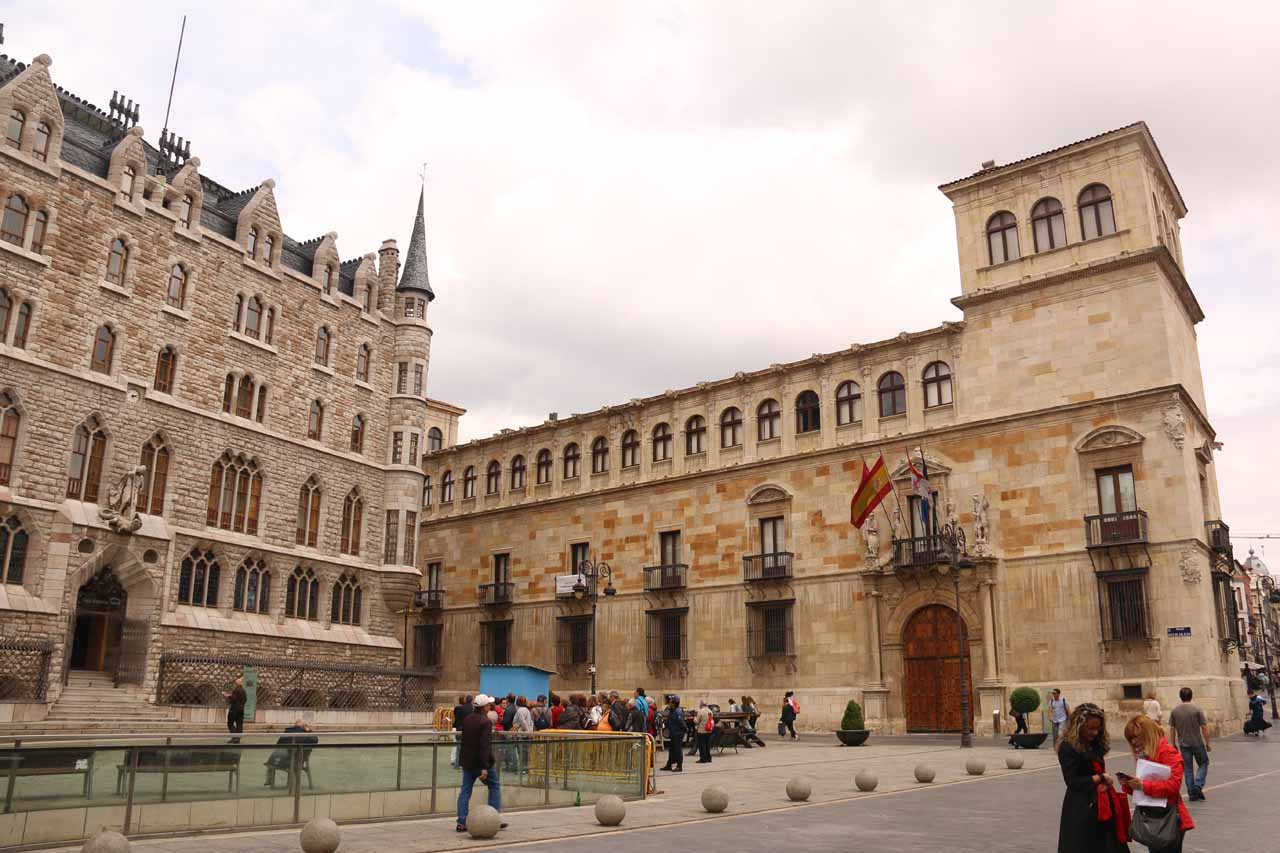 Angled view towards the Gaudi building as well as the Ayuntamiento in Leon