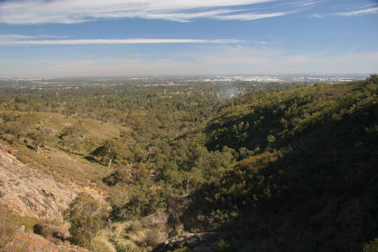 Looking over the top of Lesmurdie Falls in low flow