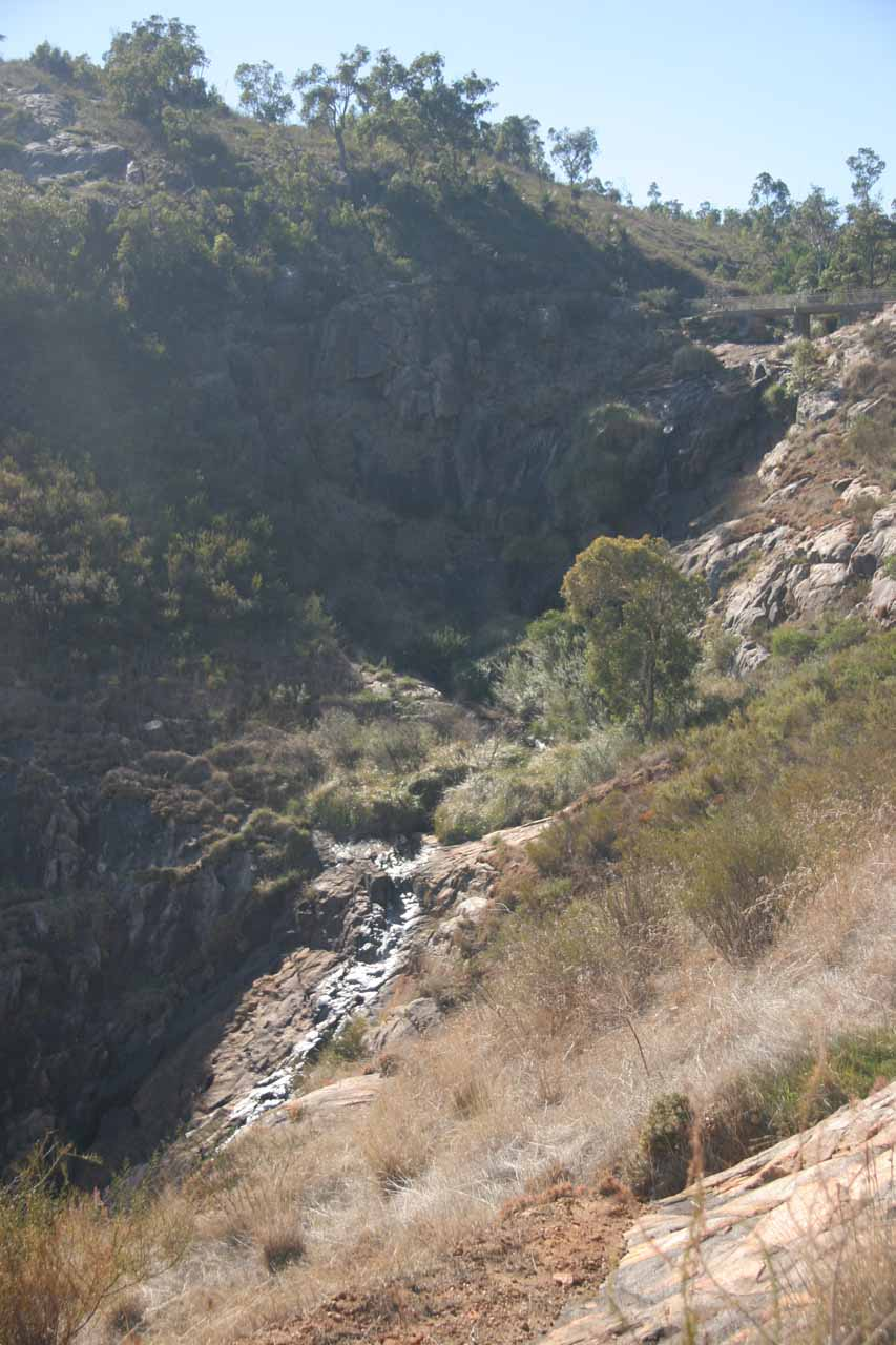 Side view of what's left of Lesmurdie Falls from near its top