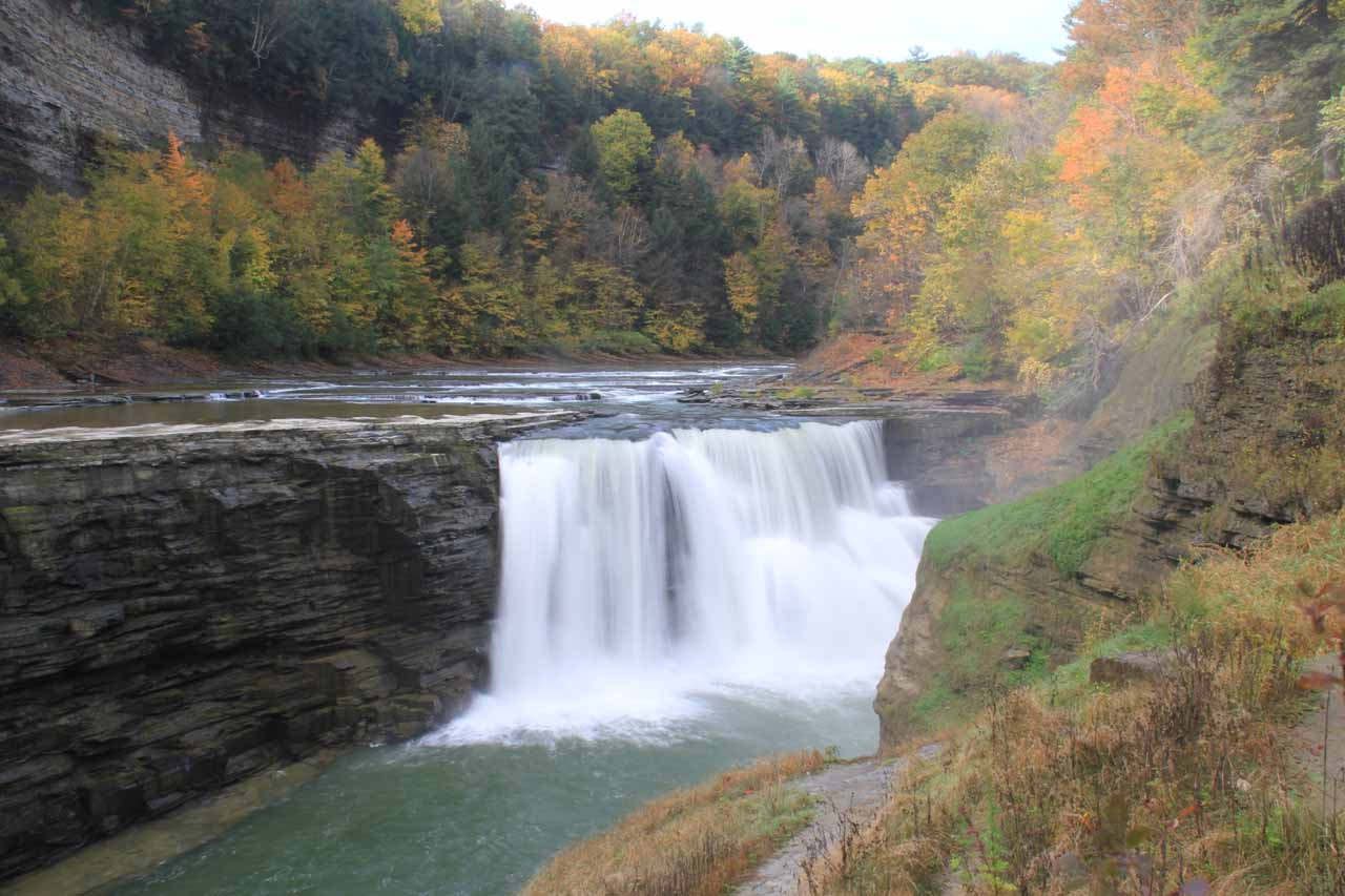 An Autumn view of the Lower Falls with gorgeous colors but narrower width