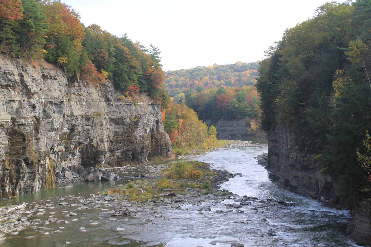 Looking further downstream along the Genesee River flanked by beautiful Autumn colors