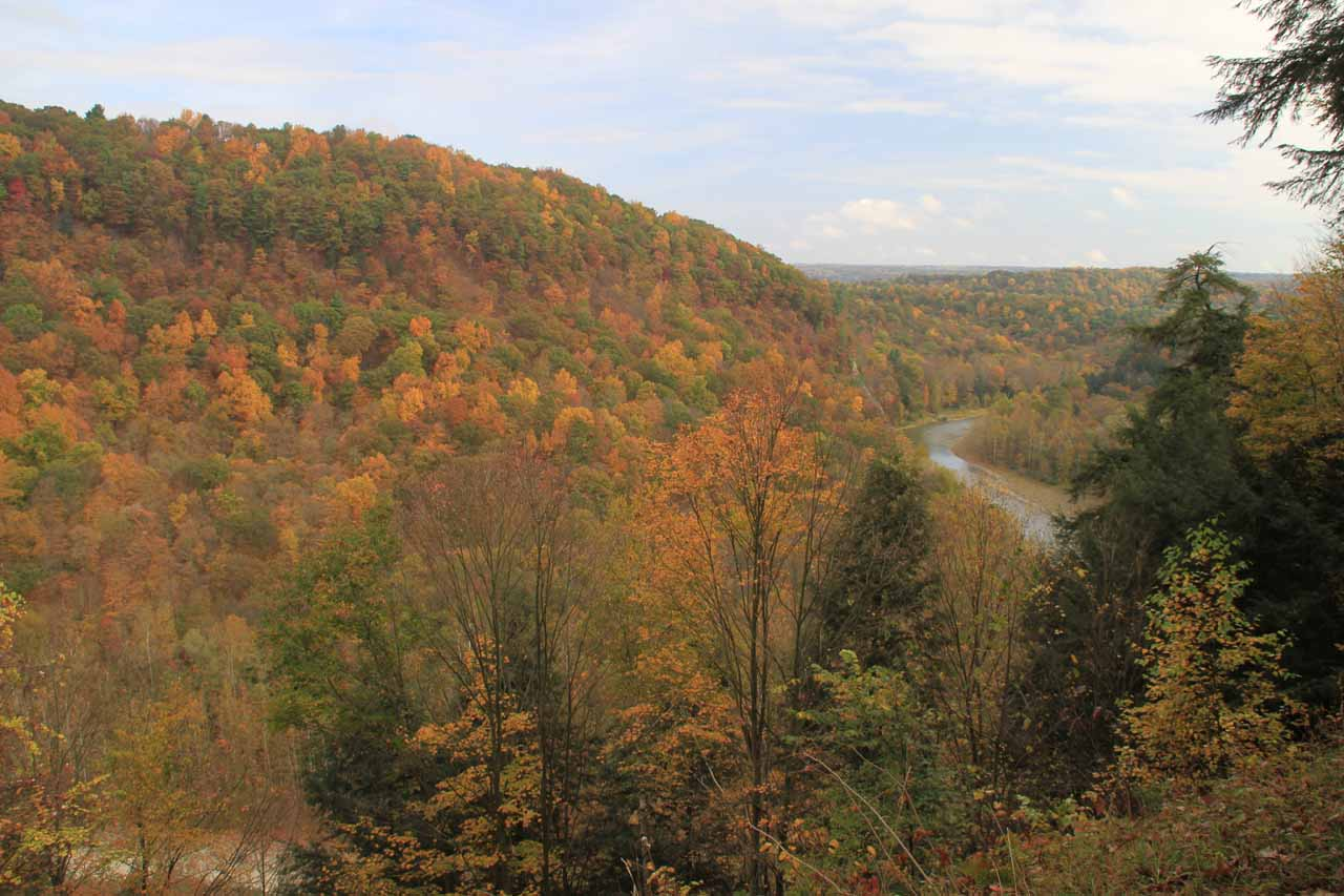 This view of the Genesee River with lots of Autumn foliage was taken from a lookout on the spur road to the Lower Falls