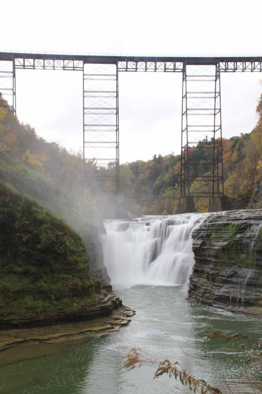 A closer look at the Upper Falls and the Portage High Bridge in the Autumn of 2013