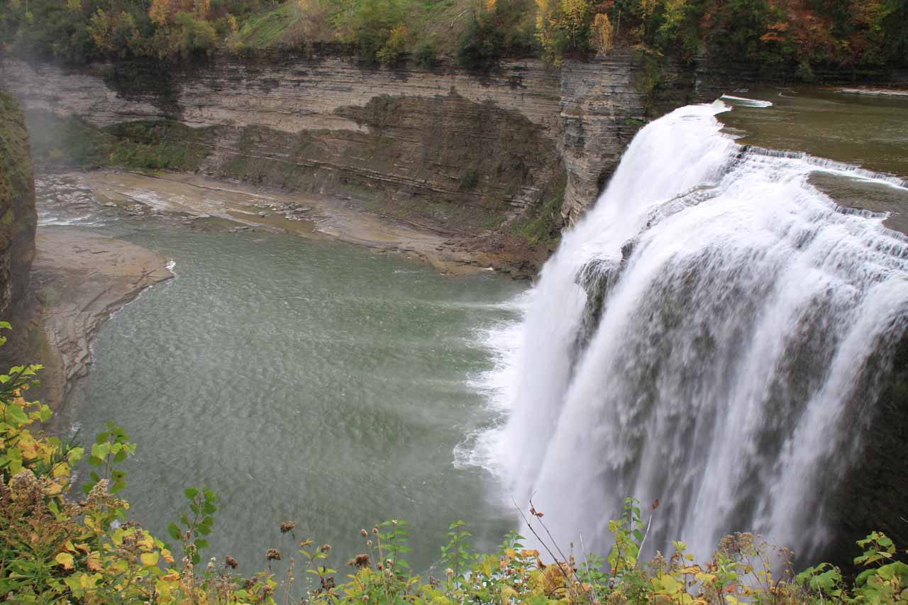 Profile view of the Middle Falls of the Genesee River