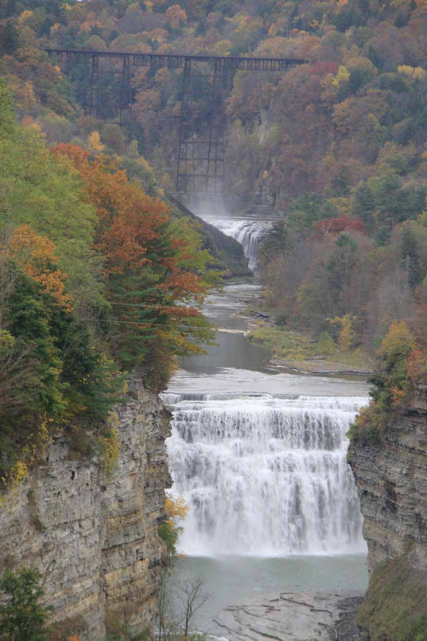 This was the view of the Upper and Middle Falls with the Portage High Bridge way up above both falls as seen from Inspiration Point