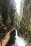 Leutaschklamm_038_06272018 - Looking back as I continued further along the Leutaschklamm as the wooden walkway clung to the narrow gorge wall while letting the Leutascher Ache rush by below me