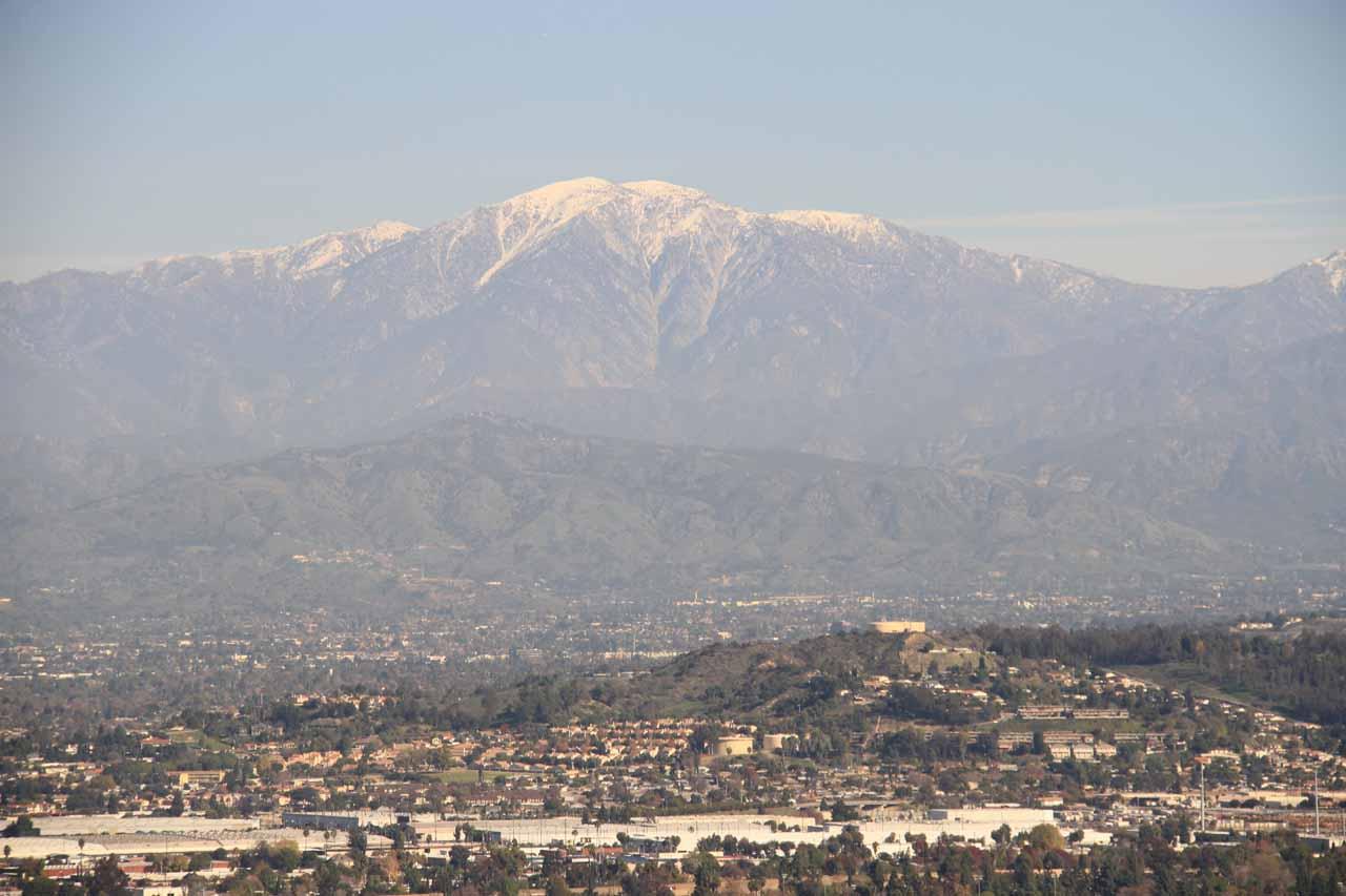 Looking towards the snow atop the San Gabriel Mountains