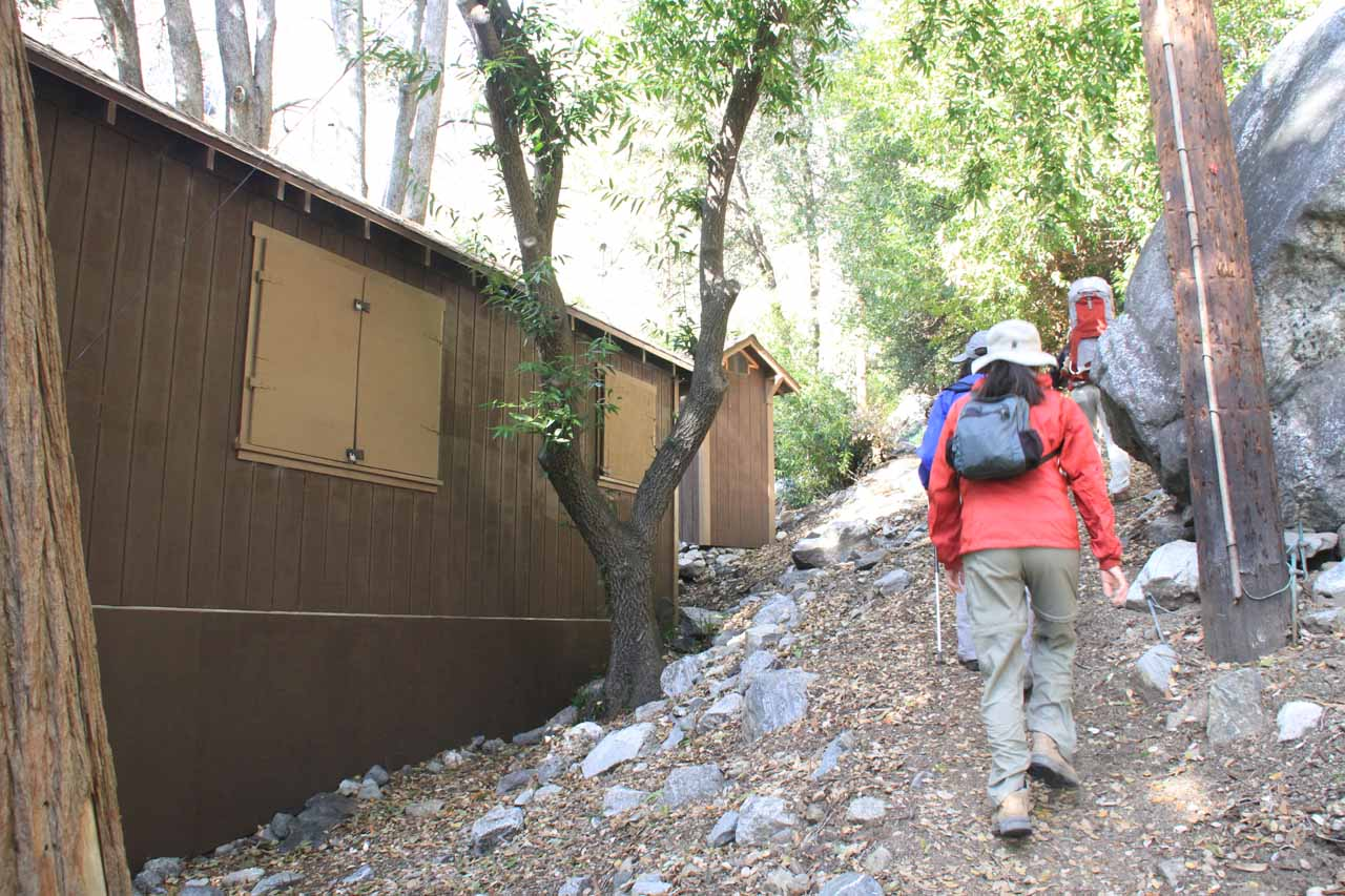 Going past one of the intact cabins