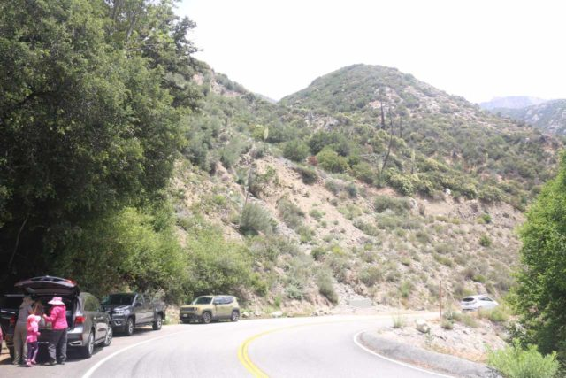 Lewis_Falls_17_010_06102017 - Context of the pullout by the Hwy 39 around the trailhead to Soldier Creek Falls (or Lewis Falls), which had a few more cars parked here during our June 2017 visit