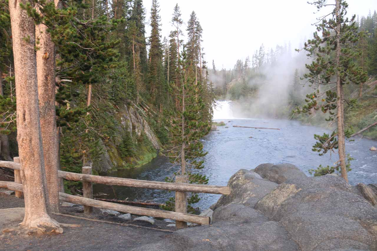 This was the view of Lewis Falls from the start of the newly built or newly improved trail