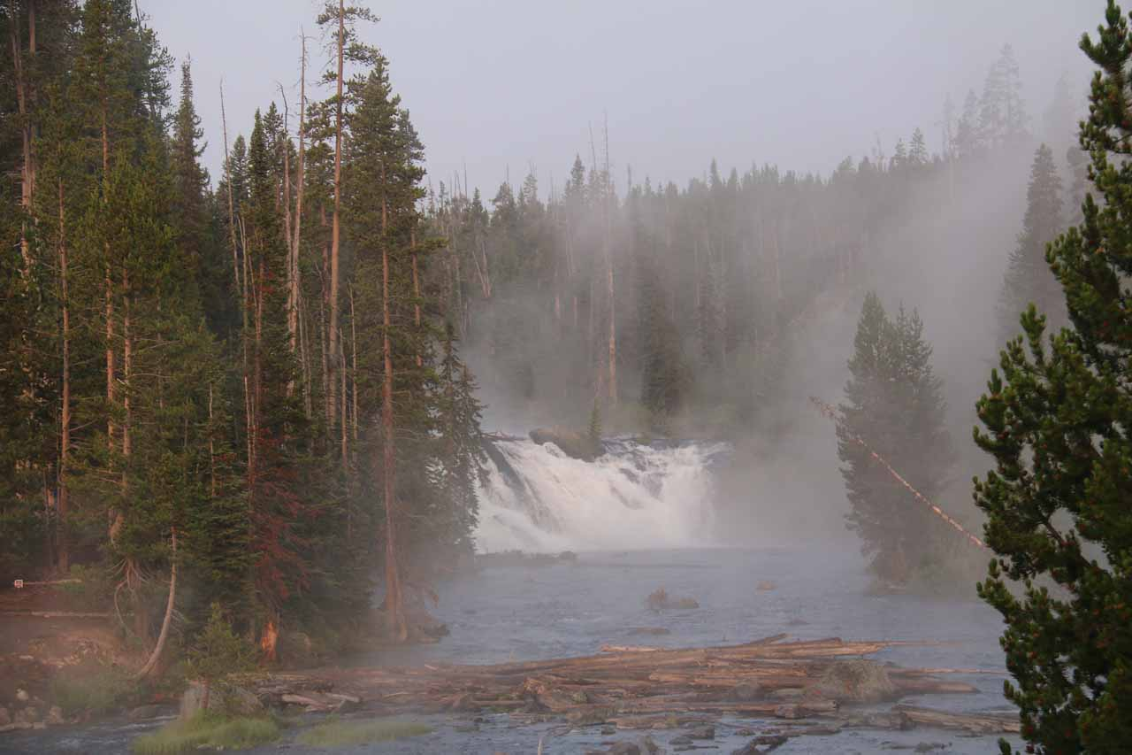 Steamy view towards the Lewis Falls suggesting that the Lewis River must have had some degree of geothermal heating