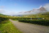 Leyningsfoss_018_08142021 - Looking back towards the access road for Skarðsdalur with Siglufjörður in the distance