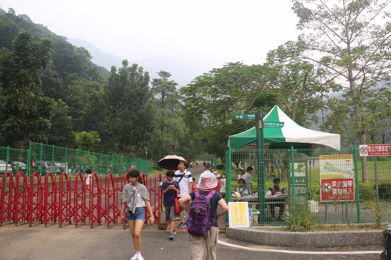 Approaching the entrance booth for the Liangshan Park