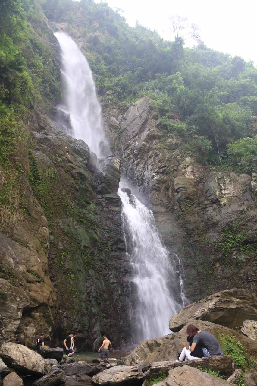 Lots of people were all around the Liangshan Waterfall not only upstream as shown here, but further downstream as well